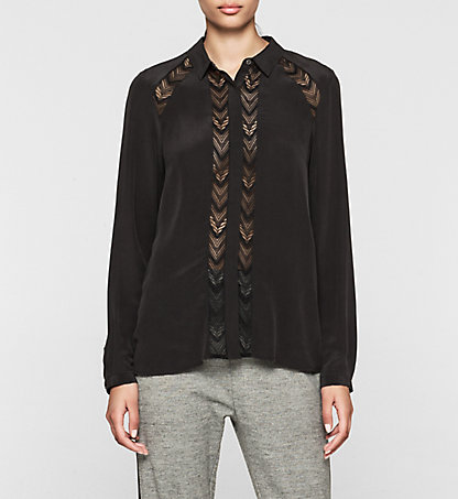 CALVIN KLEIN JEANS Lace Panelled Silk Blouse - Wiva J20J201075099