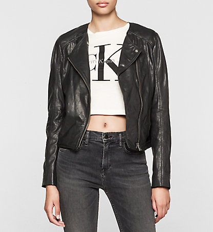 CALVIN KLEIN JEANS Leather Biker Jacket - Meadow J20J201242004