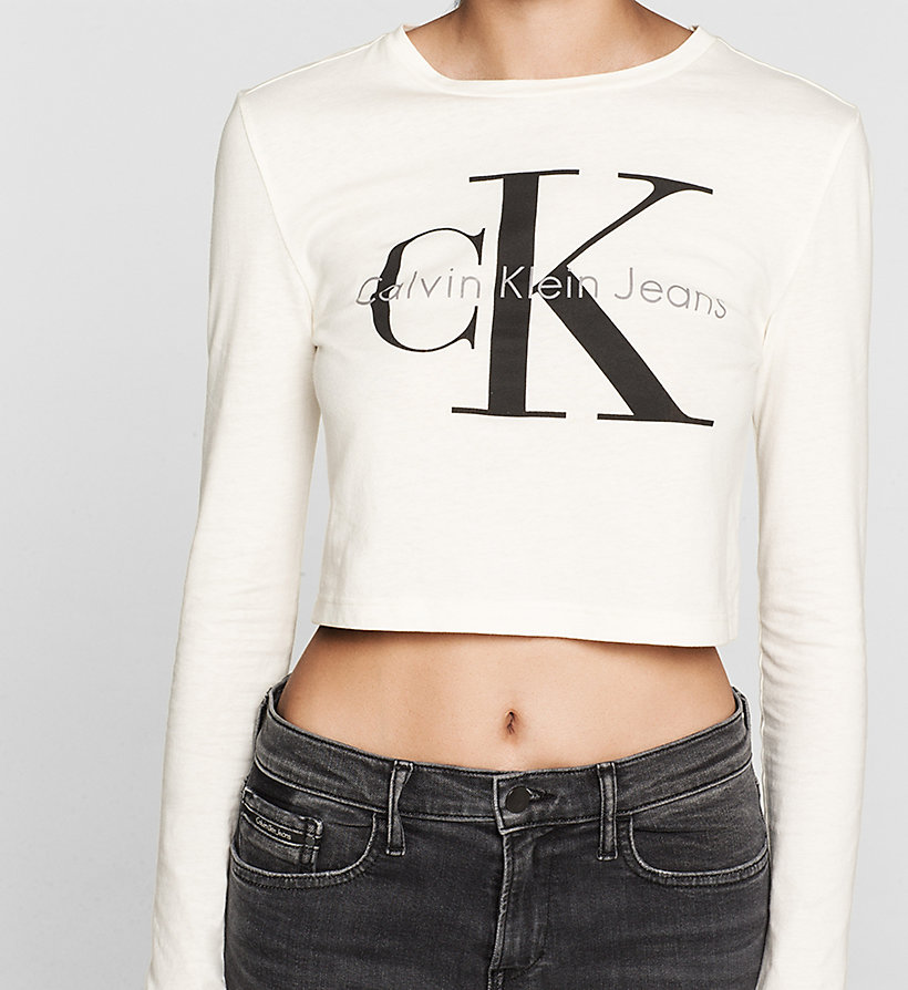 CKJEANS Kurzes Logo-T-Shirt - CLOUD DANCER - CK JEANS T-SHIRTS - main image 2
