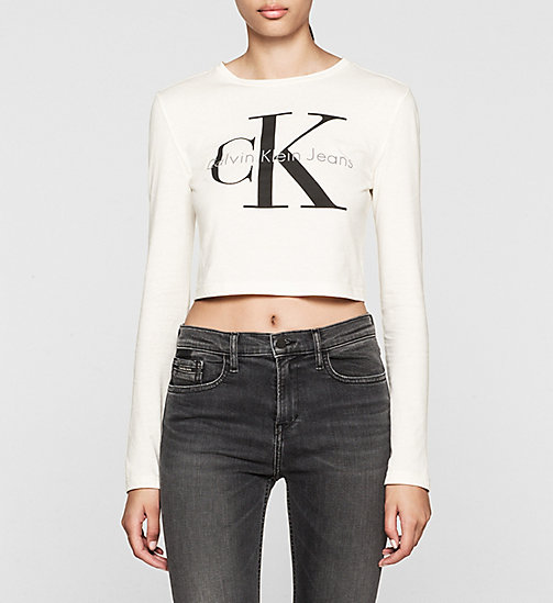 CKCOLLECTION Cropped Logo T-shirt - CLOUD DANCER - CK JEANS  - main image