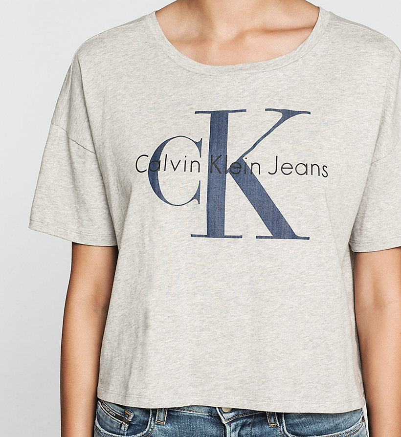 CKJEANS Cropped Logo T-shirt - LIGHT GREY HEATHER - CK JEANS T-SHIRTS - detail image 2