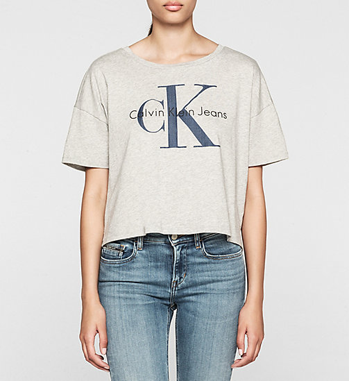 CKJEANS Cropped Logo T-shirt - LIGHT GREY HEATHER - CK JEANS T-SHIRTS - main image