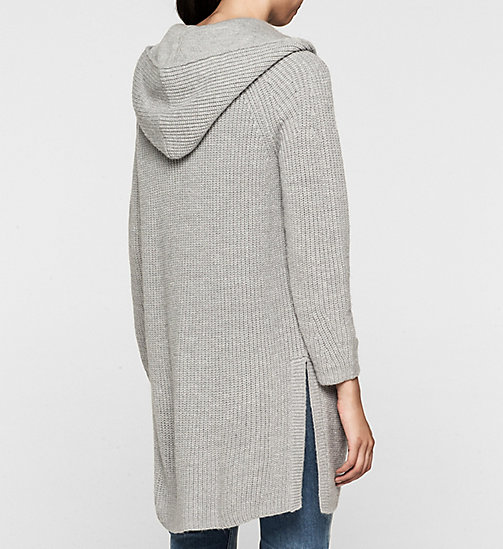 Wool Blend Hooded Cardigan - LIGHT GREY HEATHER - CK JEANS JUMPERS - detail image 1