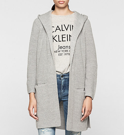 Wool Blend Hooded Cardigan - LIGHT GREY HEATHER - CK JEANS JUMPERS - main image