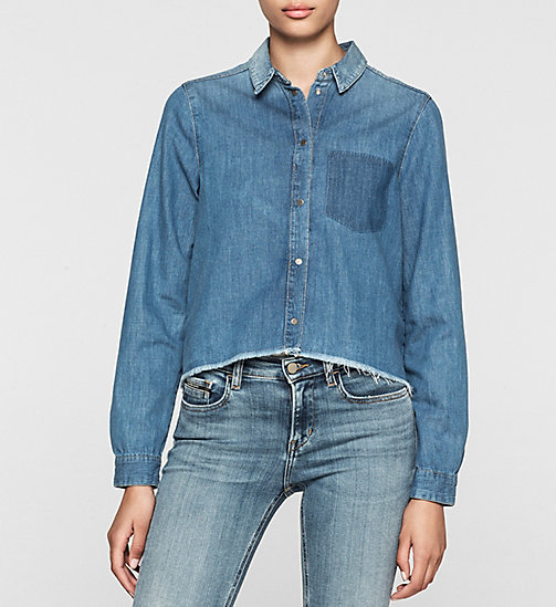 CKCOLLECTION Cropped Denim Boyfriend Shirt - SPLATTERED BLUE - CK JEANS  - main image