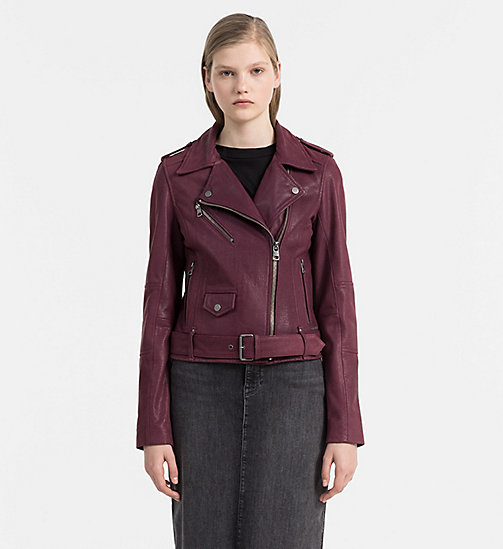 CALVIN KLEIN JEANS Textured Leather Biker Jacket - FIG - CALVIN KLEIN JEANS JACKETS - main image