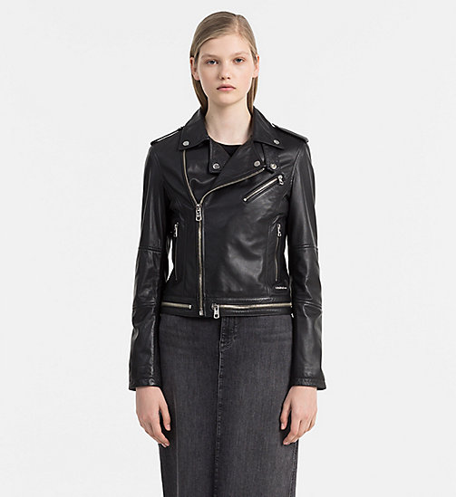 Leather Biker Jacket - CK BLACK - CALVIN KLEIN JEANS JACKETS - main image
