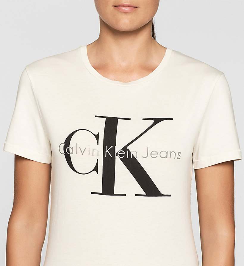 CKJEANS Slim Logo-T-Shirt - MOONBEAM - CK JEANS T-SHIRTS - main image 2
