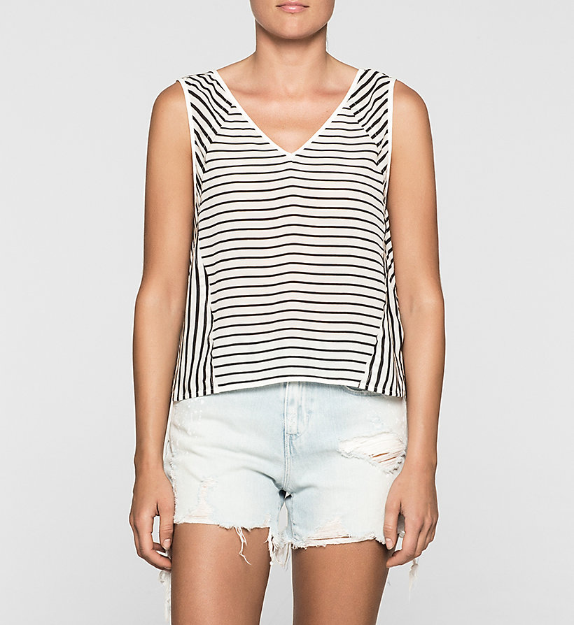 CKJEANS Stripe Silk Top - BRIGHT WHITE / CK BLACK - CK JEANS CLOTHES - main image