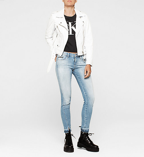 CALVIN KLEIN JEANS Leather Biker Jacket - BRIGHT WHITE - CALVIN KLEIN JEANS  - detail image 1