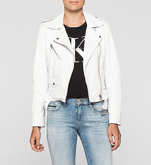 CALVIN KLEIN JEANS Leather Biker Jacket - BRIGHT WHITE - CALVIN KLEIN JEANS  - main image