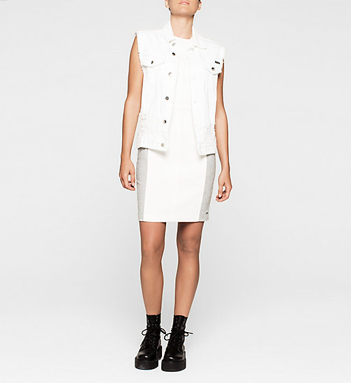 CKCOLLECTION Panelled Jersey Dress - BRIGHT WHITE / LIGHT GREY HEATHER - CK JEANS  - detail image 1