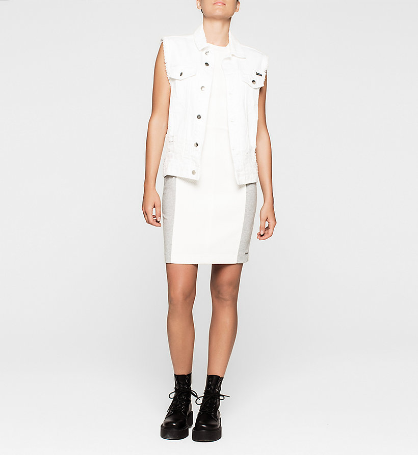 CKJEANS Panelled Jersey Dress - BRIGHT WHITE / LIGHT GREY HEATHER - CK JEANS DRESSES - detail image 1