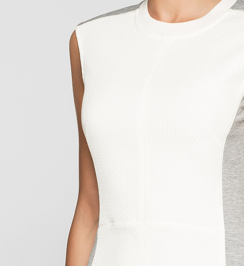 CKJEANS Panelled Jersey Dress - BRIGHT WHITE / LIGHT GREY HEATHER - CK JEANS DRESSES - detail image 2