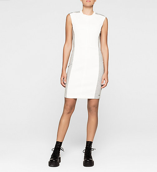 CKCOLLECTION Panelled Jersey Dress - BRIGHT WHITE / LIGHT GREY HEATHER - CK JEANS  - main image