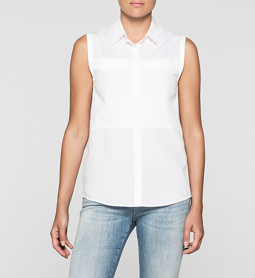 CKJEANS Sleeveless Poplin Shirt - BRIGHT WHITE - CK JEANS CLOTHES - main image