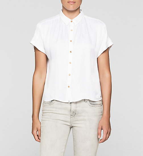 Boxy Satin Shirt - BRIGHT WHITE - CK JEANS SHIRTS - main image