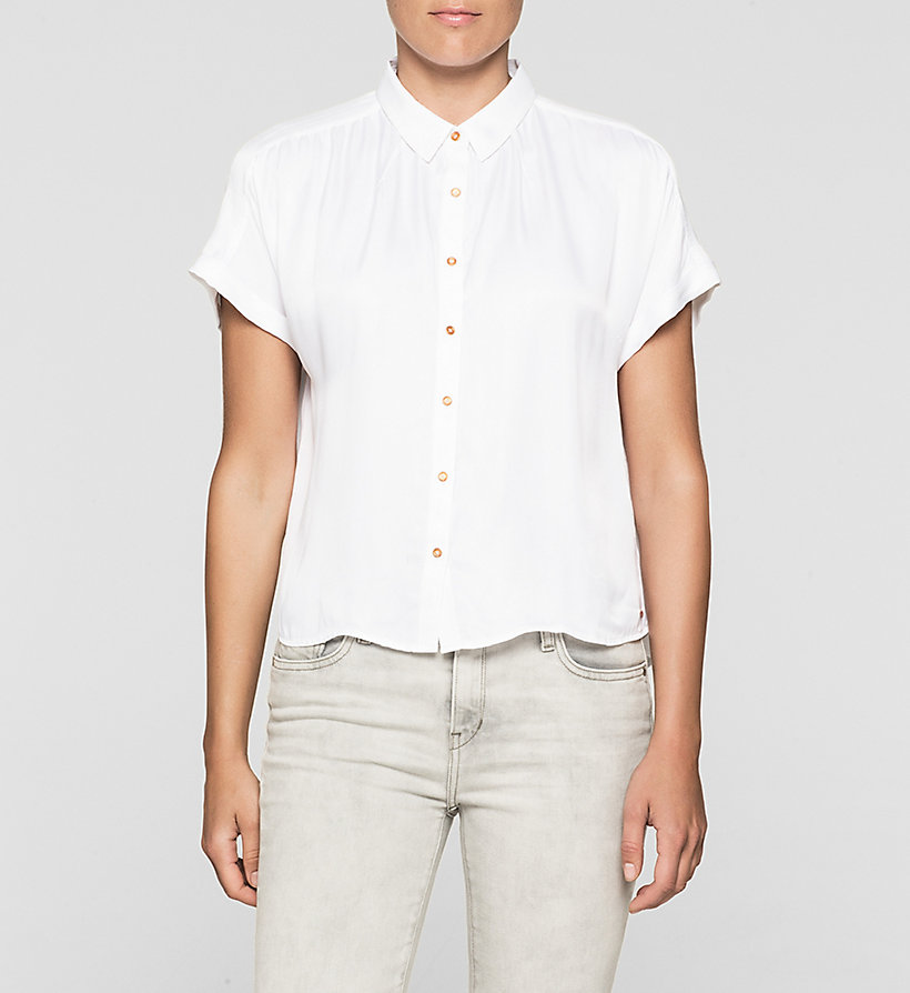 CKJEANS Boxy Satin Shirt - BRIGHT WHITE - CK JEANS CLOTHES - main image