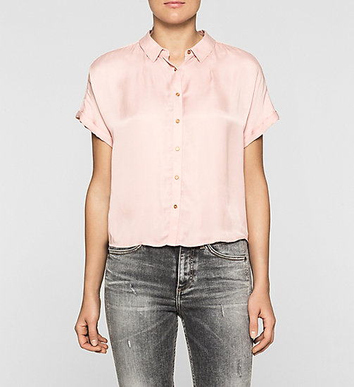 Boxy Satin Shirt - MELLOW ROSE - CK JEANS SHIRTS - main image