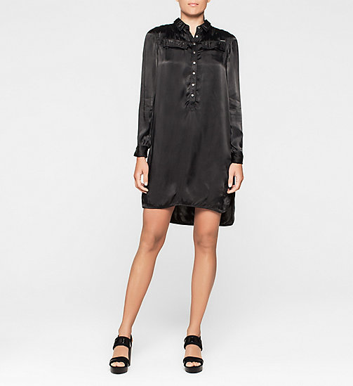 CKJEANS Satin Shirt Dress - CK BLACK - CK JEANS DRESSES - main image
