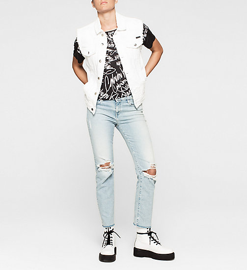 Cropped Material Mix Top - SCRIBBLE LOGO / CK BLACK - CK JEANS  - detail image 1