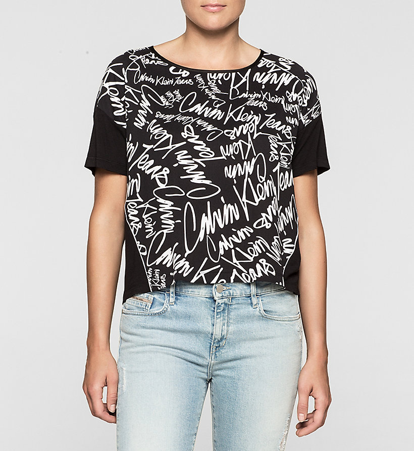 CKJEANS Cropped Material Mix Top - SCRIBBLE LOGO / CK BLACK - CK JEANS SHIRTS - main image