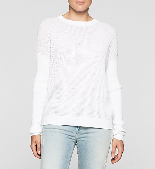 CALVINKLEIN Textured Knit Sweater - BRIGHT WHITE - CK JEANS JUMPERS - main image