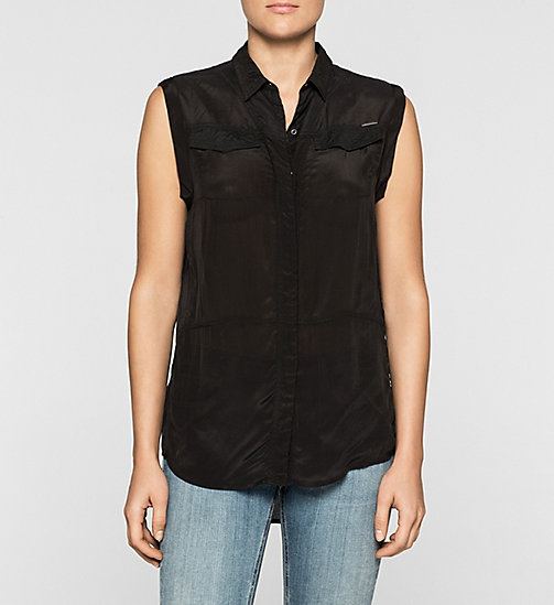 CKJEANS Sleeveless Satin Shirt - CK BLACK - CK JEANS SHIRTS - main image