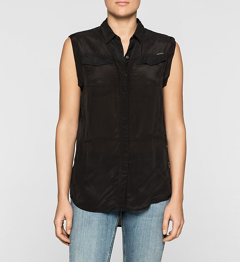 CKJEANS Sleeveless Satin Shirt - CK BLACK - CK JEANS CLOTHES - main image