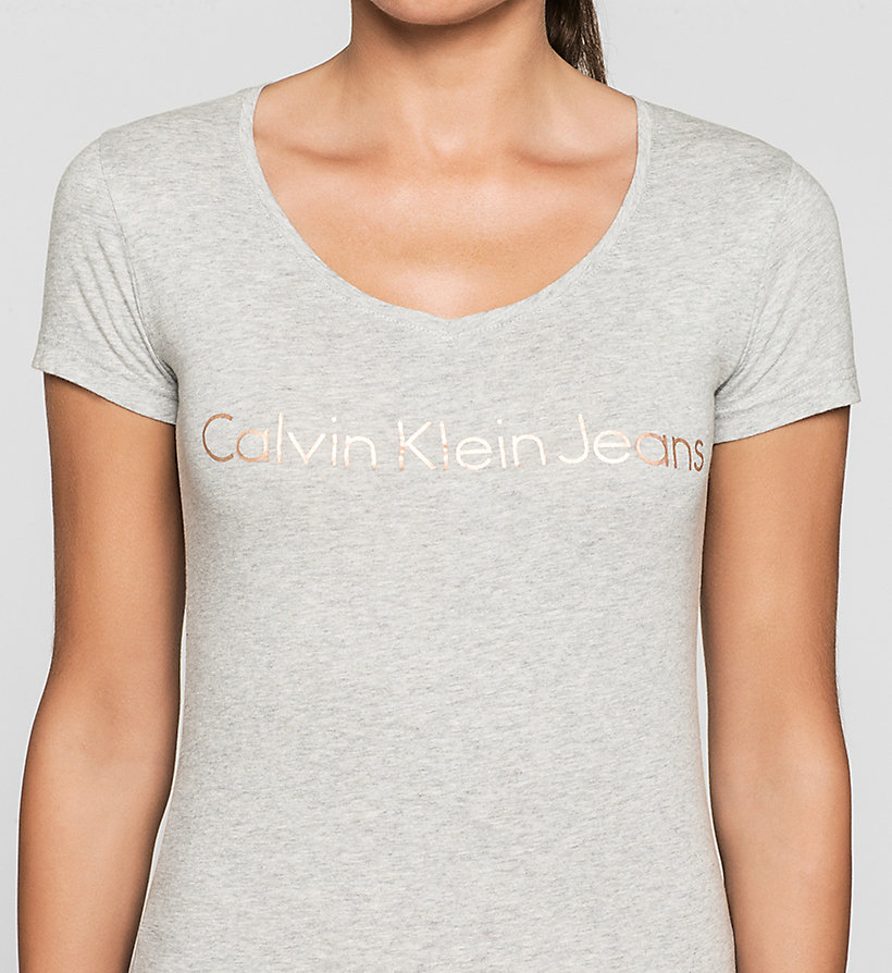 CKJEANS Camiseta slim con logo - LIGHT GREY HEATHER - CK JEANS CAMISETAS - imagen detallada 2