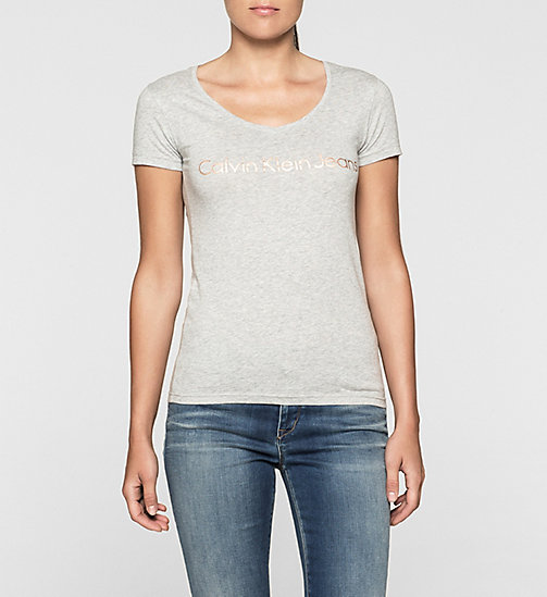 T-shirt slim avec logo - LIGHT GREY HEATHER - CK JEANS T-SHIRTS - image principale