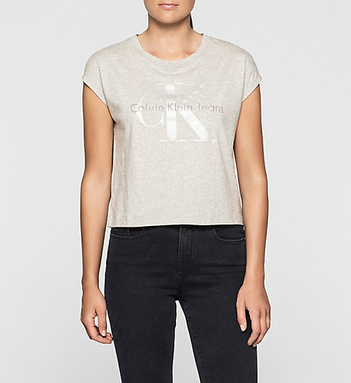 T-shirt court avec logo - LIGHT GREY HEATHER - CK JEANS T-SHIRTS - image principale