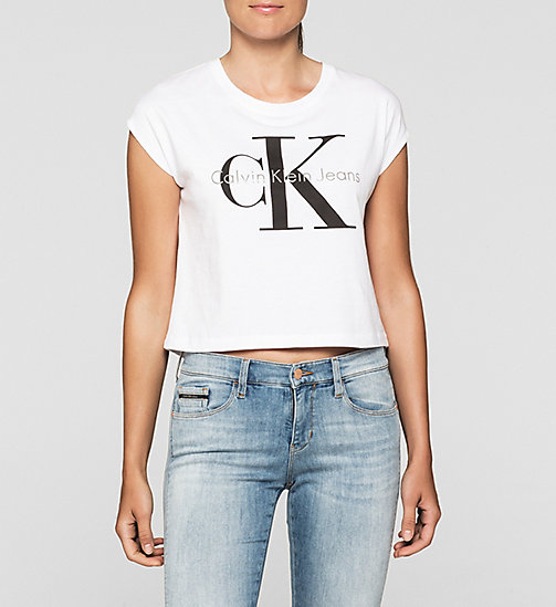 Cropped T-shirt met logo - BRIGHT WHITE - CK JEANS T-SHIRTS - main image