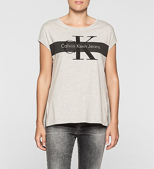 T-shirt dritta con logo - LIGHT GREY HEATHER - CK JEANS  - immagine principale