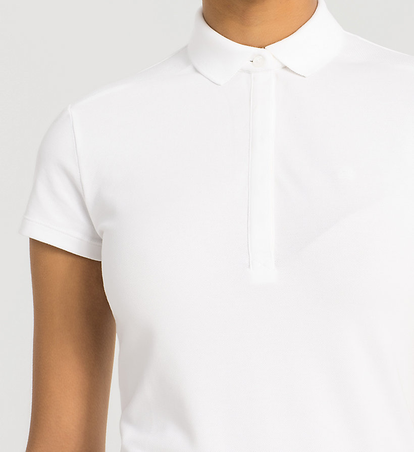 CKJEANS Slim Cotton Piqué Polo - BRIGHT WHITE - CK JEANS T-SHIRTS - detail image 2