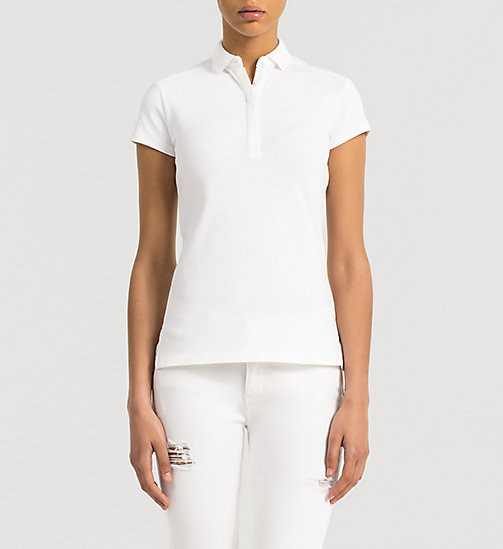 Slim Cotton Piqué Polo - BRIGHT WHITE - CK JEANS T-SHIRTS - main image