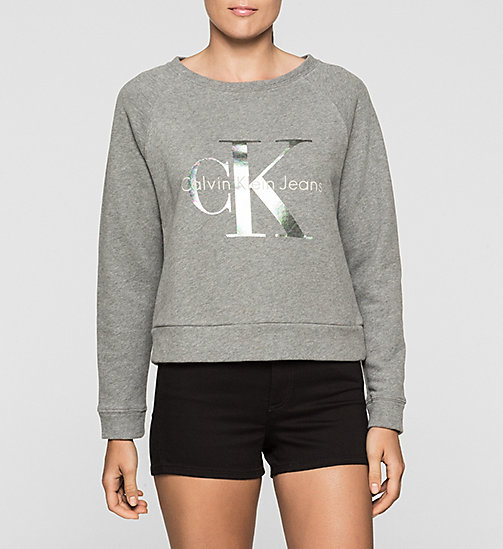 Sweatshirt met logo - LIGHT GREY HEATHER - CK JEANS ONDERGOED - main image