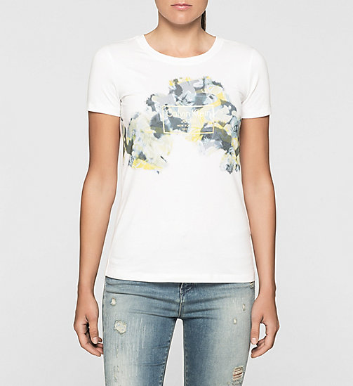Fitted Floral Logo T-shirt - BRIGHT WHITE - CK JEANS T-SHIRTS - main image