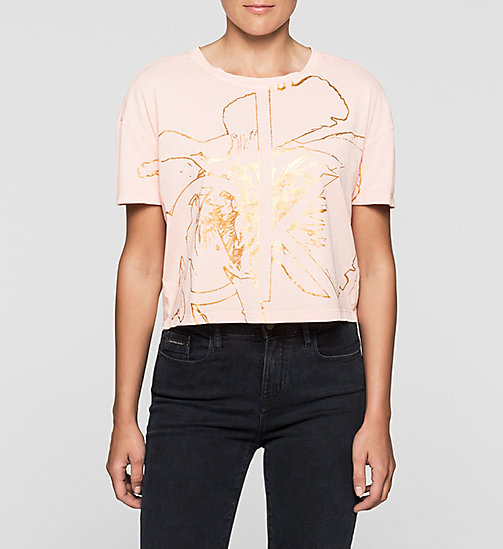 Cropped T-shirt met logo - MELLOW ROSE - CK JEANS T-SHIRTS - main image