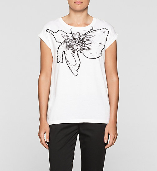 CKJEANS Straight T-shirt in materiaalmix - BRIGHT WHITE - CK JEANS GIFTS FOR HER - main image