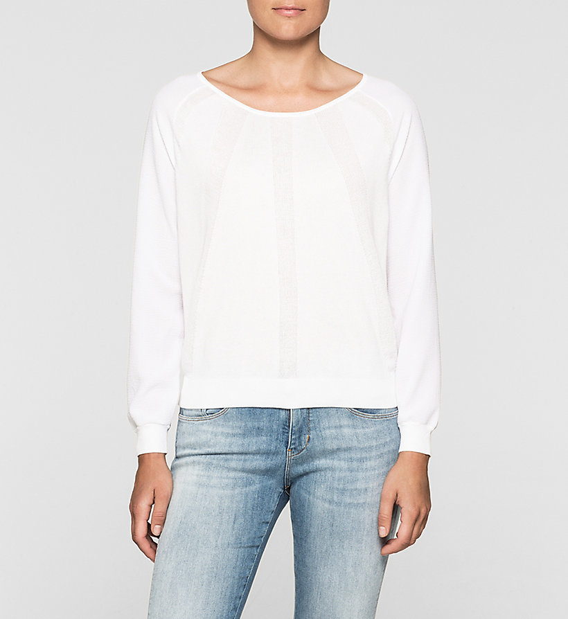 CKJEANS Material Mix Sweater - BRIGHT WHITE - CK JEANS JUMPERS - main image