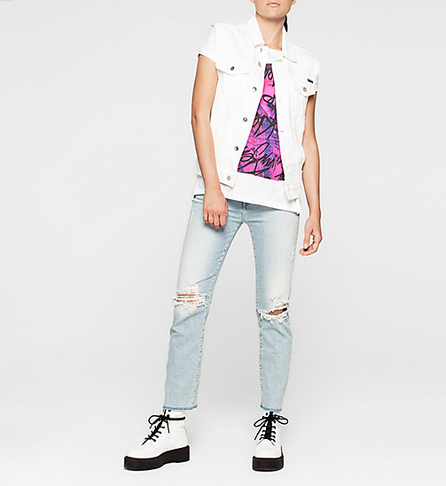 Straight Graffiti T-shirt - BRIGHT WHITE - CK JEANS T-SHIRTS - detail image 1