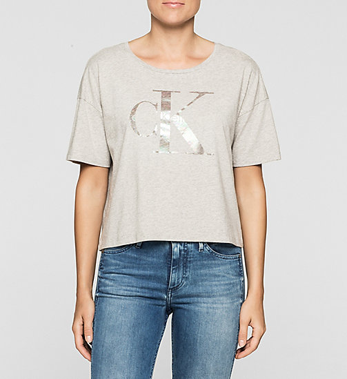 T-shirt corta con logo - LIGHT GREY HEATHER - CK JEANS T-SHIRT - immagine principale