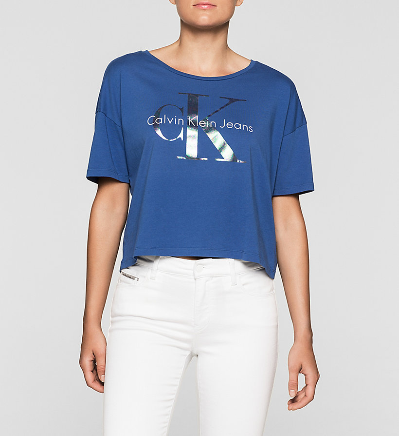 CKJEANS Cropped Logo T-shirt - SODALITE BLUE - CK JEANS T-SHIRTS - main image