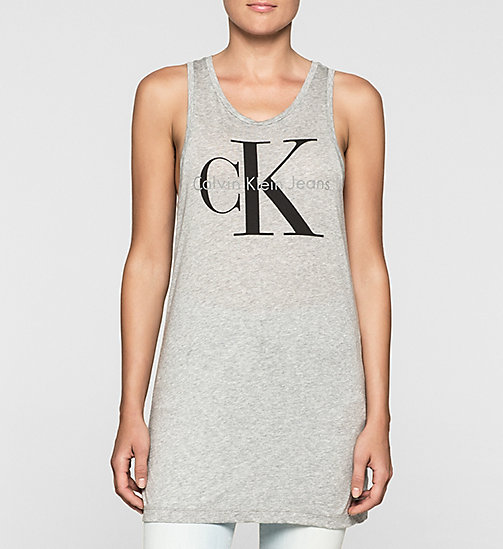 Lange tanktop met logo - LIGHT GREY HEATHER - CK JEANS T-SHIRTS - main image
