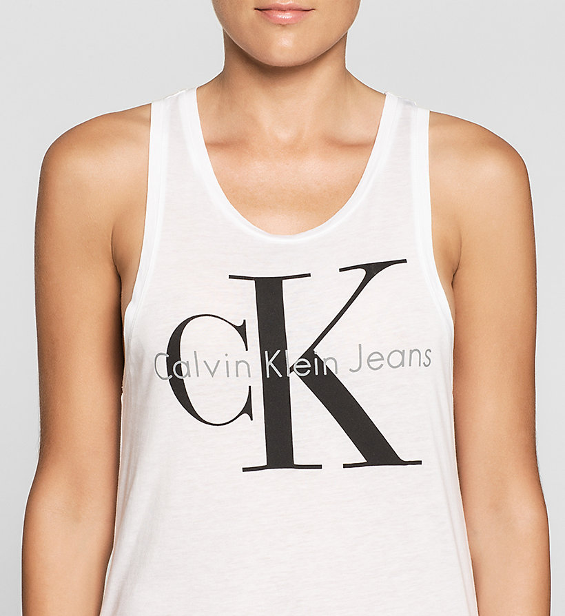 CKJEANS Long Logo Tank Top - BRIGHT WHITE - CK JEANS CLOTHES - detail image 2