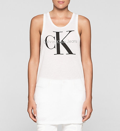 Long Logo Tank Top - BRIGHT WHITE - CK JEANS T-SHIRTS - main image