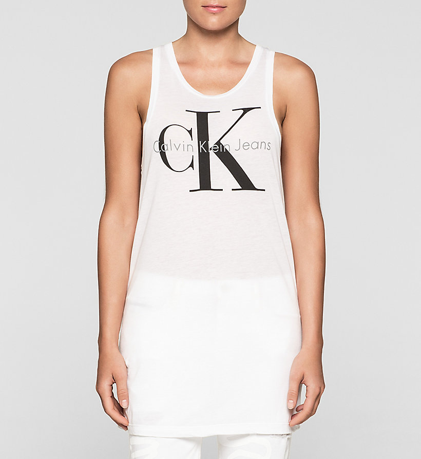 CKJEANS Long Logo Tank Top - BRIGHT WHITE - CK JEANS CLOTHES - main image