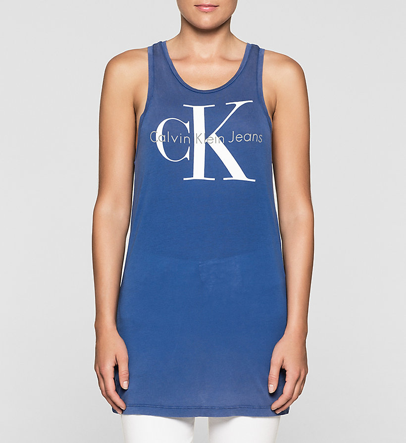 CKJEANS Long Logo Tank Top - SODALITE BLUE - CK JEANS CLOTHES - main image