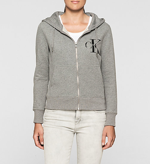 Felpa con cappuccio con logo - LIGHT GREY HEATHER - CK JEANS  - immagine principale